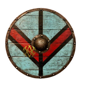Medieval Shields Wooden Authentic Metal Steel Round Decor Collectibles Shields