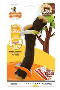 Nylabone Real Wood STRONG STICK Dog Chew Toy MAPLE BACON FLAVOR