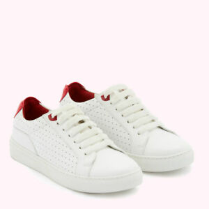 LULU GUINNESS Chalk and Red 100% Leather Morton Trainers Size 6 39 BNIB