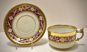 Antique Lamm Dresden Tea Cup & Saucer, Floral & Gold