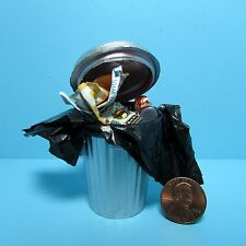 Dollhouse Miniature Filled Outdoor Garbage Can with Trash Bag Liner ~ S1002