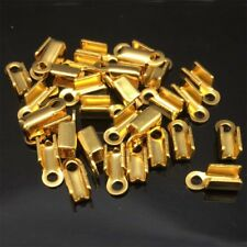 50pcs Stainless Steel Gold Crimp End Tips Caps, Leather Hemp or Cord Ends w/loop