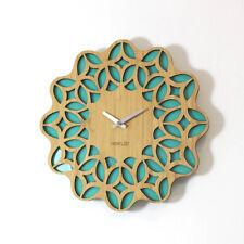 LOO Natural Bamboo Vintage Retro 60s Sunburst Silent Kitchen Wall Clock