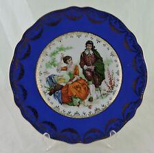 ANTIQUE ROYAL BLUE FRAGONARD ROMANTIC SCENE VICTORIAN MAN/WOMAN GOLD SWAG PLATE