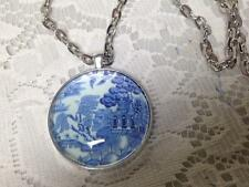 Beautiful, 38mm Blue Willow Pendant Necklace with 24in Silver Chain
