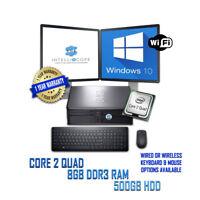 "Dell 19"" Dual Screen Desktop Computer PC 500GB 8GB DDR3 RAM QUAD CORE Windows 10"