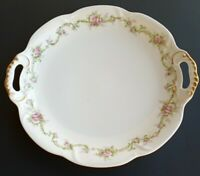 Theodore Haviland Limoges France Lavender Rose Round Dual Handle Plate Rare