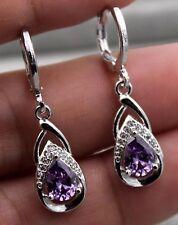 Amethyst Dangle Earrings Sterling Silver/Stainless Steel 1 Inch Drop New