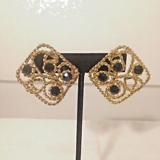 GINNIE JOHANSEN DESIGN Chunky Goldtone Rope Earrings w Black Crystals Clip On