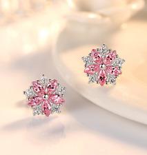 Pink White Oval Crystal Flower Stud Earrings 925 Sterling Silver Women Jewellery