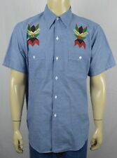 Vtg Big Mac Chambray Hand Painted Native American Indian Shirt Thunderbird Lg
