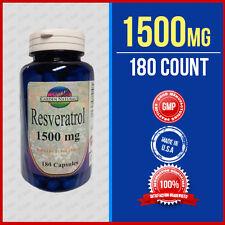 Resveratrol 180 Caps Max 1500mg Polygonum Cuspidatum Diet Supplement Made USA