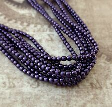 Strand of 150 Faux Pearl Beads Mini Glass Pearls Purple 2mm PRL02-70038
