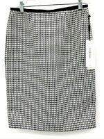 Calvin Klein Womens Black White High Waist Belted Pencil Skirt Size 2 NWT
