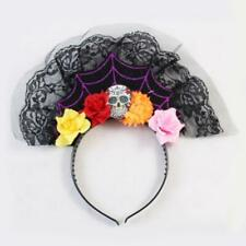 Day Of The Dead Headband Lace Trim