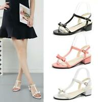 Block Heel Women T-Strap Open Toe Low Sandals Bowknot Buckle Comfy Shoes Fashion
