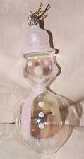 Vintage Clear Blown Glass SNOWMAN Christmas Xmas Ornament Frosted Accents