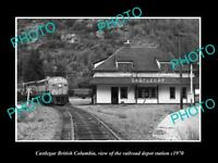 OLD LARGE HISTORIC PHOTO OF CASTLEGAR BRITISH COLUMBIA RAILROAD STATION c1970