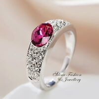 18K White Gold GF Made With Swarovski Crystal Oval Cut Side Stone Pink Ring