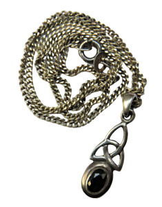 Sterling Silver Ladies Necklace & Black Stone Pendant In Celtic Style