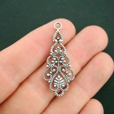 8 Filigree Connector Charms Antique Silver Tone 2 Sided Pendant Drop  - SC938