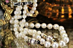 VINTAGE ESTATE LONG CULTURED PEARL STRAND WITH MULTI GEM SET CLIP ON 14ct YELLOW