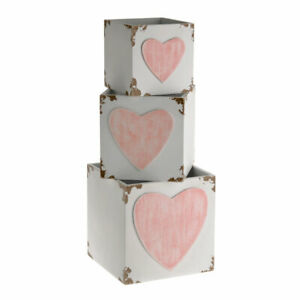 Wooden Crates SET OF 3 White Distressed Pink Heart Crate Planter Flower Pot SALE