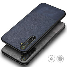 For OnePlus Nord Fabric Canvas Cloth Leather Case Bumper Cover + Tempered Glass