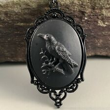 Halloween crow raven pumpkin glass cameo necklace