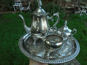 VINTAGE AUSTRALIAN SILVER PLATE TEAPOT SET AND SERVING TRAY