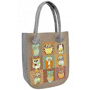 Filztasche Tasche aus Filz Grau mit Aufdruck Eulen Motiv mehrfarbig Handtasche