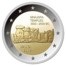 """MALTA: SPECIALE 2 EURO 2018 """"MNAJDRA TEMPLES"""" UNC"""