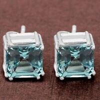 Aquamarine Simulated Stud 925 Sterling Silver Earrings Jewelry DGE1002_I