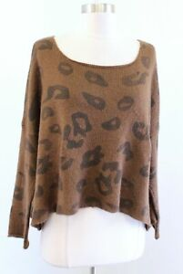 Wooden Ships Paola Buendia Brown Leopard Print Mohair Wool Sweater Size XS / S