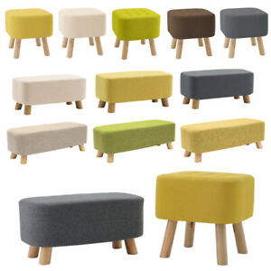 Wooden Footstool Ottoman Pouffe Foot Rest Stool Padded Seat Living Bedroom Stool