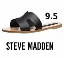 STEVEN by Steve Madden Women's Greece Sandal, Black Leather, Spartan Sandal 9.5