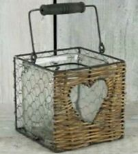 Large Willow and Wire Heart Candle Holder