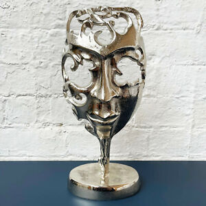 Metal Silver Opera Face Mask Sculpture Home Decoration Ornament On Stand Large
