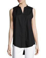 Eileen Fisher Sleeveless Organic Stretch Poplin Tunic in Black - Size PM