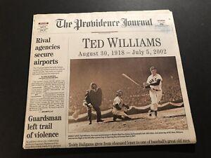 2002 Providence Journal BOSTON RED SOX Ted WILLIAMS Dies 1918-2002 SPLINTER