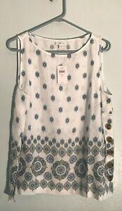 NWT J. Jill Love Linen Beautiful White w/ Blue Print Sleeveless Tank Blouse LP