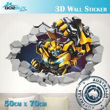 3D Wall Stickers Removable Transformer Bumblebee Broken Wall Kid Boy Room A