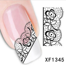 3D Black Lace Rose Nail Art Stickers Flower Manicure Decals Tips Decoration DIY