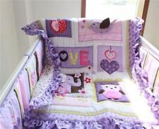 Hot Birds Purple Animals Baby Crib Bedding Set Quilt Bumper Sheet Crib Skirt 4pc