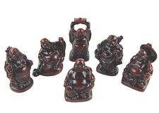 SET OF SIX SMALL LUCKY BUDDHA ORNAMENTS IN BURGUNDY RED / BUDDHAS IN BOX