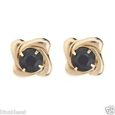 9ct Gold Large 8mm Sapphire Square Swirl Studs Earrings B'day Anniversary GIFT N
