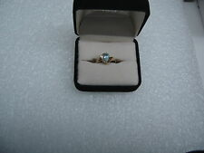10 K Yellow Gold Ring W/Oval Topaz & (2) Dia Accents size 6.25 NG11-E