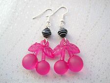 *LARGE FROSTED CHERRY PINSTRIPE* SP Earrings CUTE KITSCH CHERRIES GIFT BAG