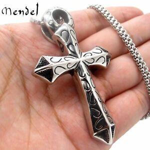 MENDEL Mens Large Egyptian Ankh Cross Pendant Necklace For Men Stainless Steel
