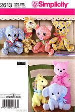 Simplicity Sewing Pattern 2613 Stuffed animals Cat Pig Giraffe Elephant toy